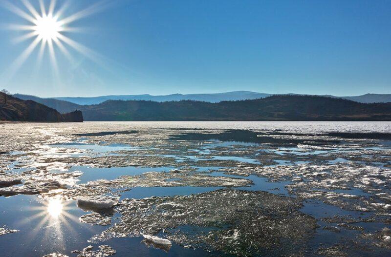 ice melt and sunburst