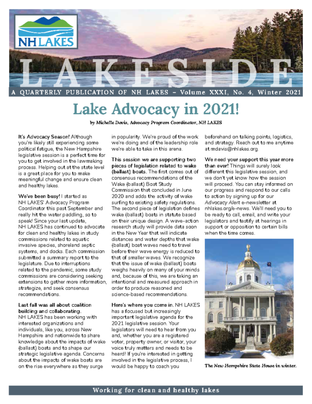 NH LAKES Winter 2021 Front Page