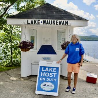 Lake Host Nancy Conlan on Duty at Lake Waukewan